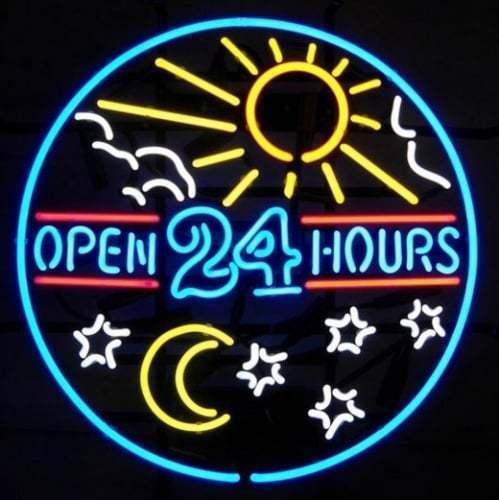 """New Open 24 Hours Star Moon Sun Shop Bar Beer Neon Sign 24""""x20"""""""