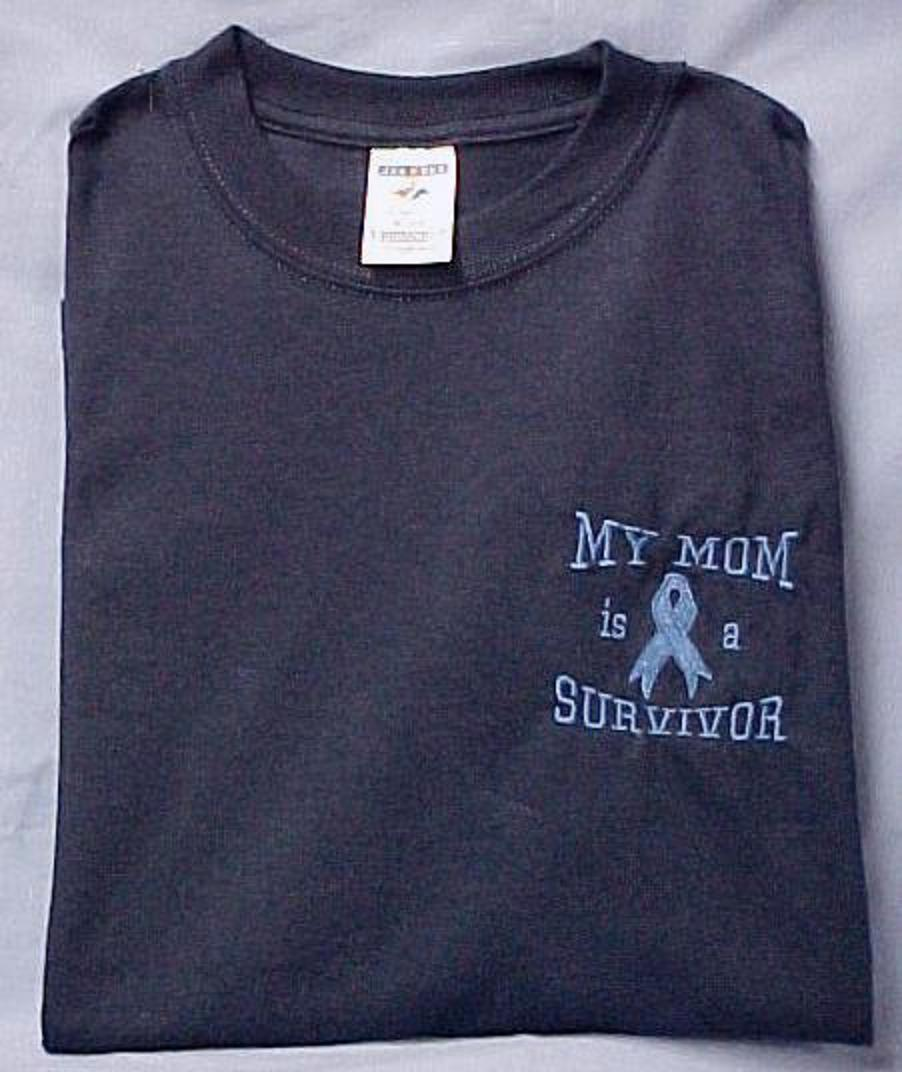 Light Blue Ribbon T-Shirt My Mom is a Survivor Navy S/S 50/50 Unisex 2XL New