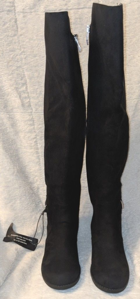 Liz Claiborne Micro Suede Over The Knee Black Boots 6 1/2 M-WC