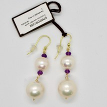 Yellow Gold Earrings 18K 750 Pearls Water Dolce and Amethyst Made in Italy image 2