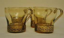 Coffee Cups/Bar Tumblers Amber With Slip On Handles By Libbey - $24.75