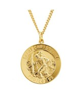 24K Gold Over Sterling Silver Round St. Christopher Medal - 24 inch Chain - $99.99