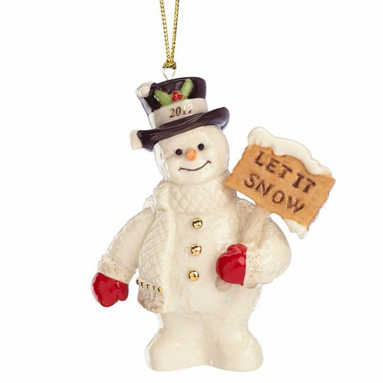 Lenox 2017 Snowman Figurine Ornament Annual Let It Snow Christmas Gift NEW
