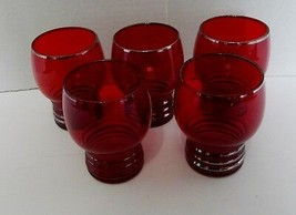 Schaeffer Ruby Platinum Trim Ribbed Bottom Imperial Glass Cordials Lot of Five - $19.75