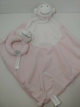 Angel Dear plush pink monkey Baby Security Blanket Lovey knotted toy + r... - $9.89