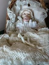 Porcelain infants vintage 10 & 6 inches w/bassinet white lace outfits  - $42.56