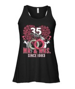 35th Wedding Anniversary Flowy Racerback Tank Gift Mr and Mrs Since 1983 - $26.95+