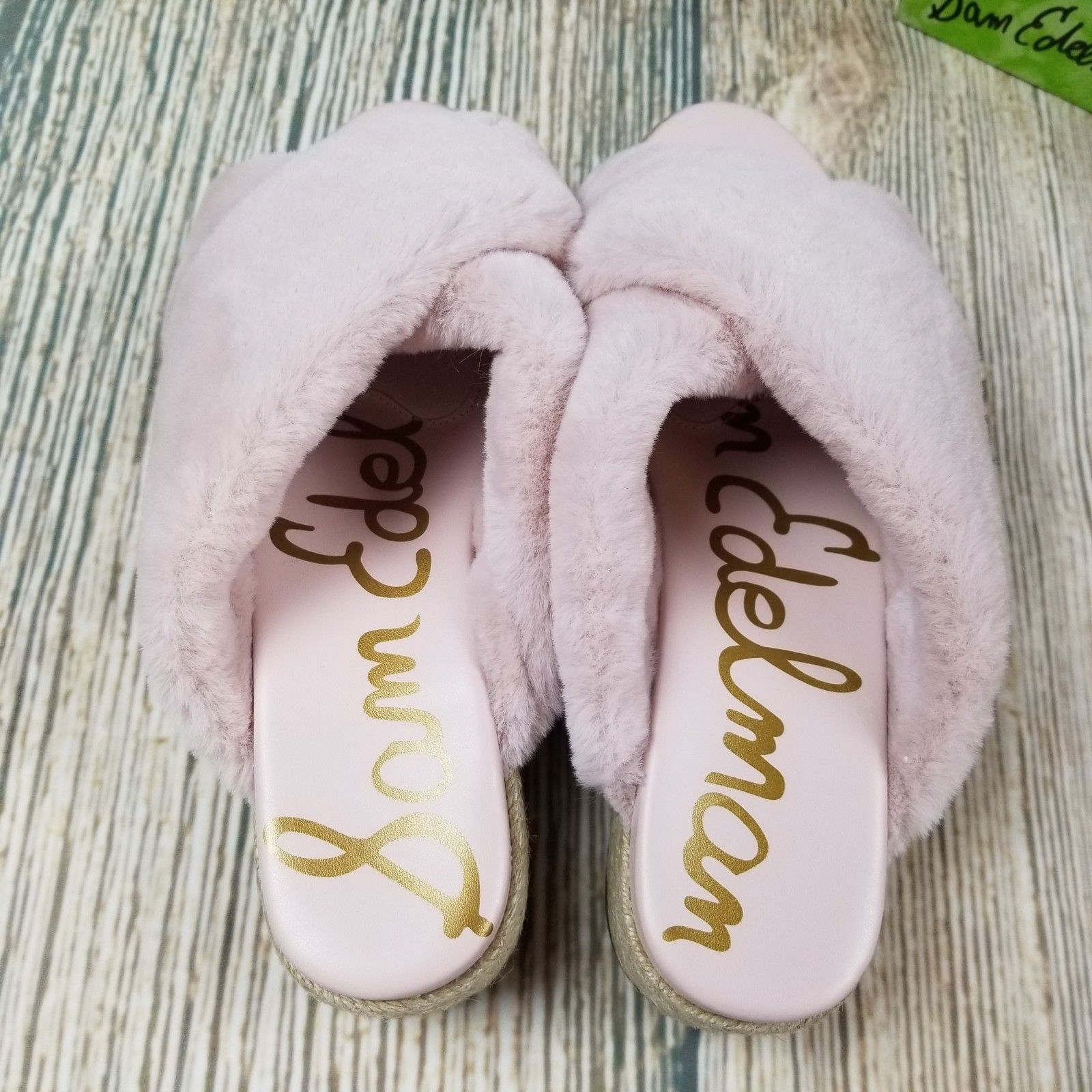New SAM EDELMAN sz 8M/8.5M pink faux fur zia platform slip on sandal $90