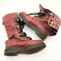 Dr. Martens Air Wair Red Floral Fold Over Boots, Womens Size 6 M - $135.23