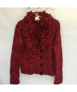 Ellen Tracy Wool Blend Sweater Cardigan Chunky Knit Fringe Collar Button... - $33.96