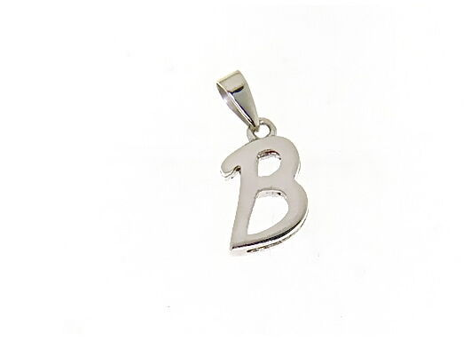 18K WHITE GOLD LUSTER PENDANT WITH INITIAL B LETTER B MADE IN ITALY 0.71 INCHES