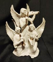 Ivory & Gold Lenox Three Angels Playing Musical  Instruments Christmas Figurine  - $17.81