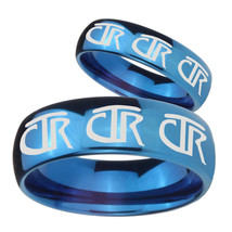 Bride and Groom Multiple CTR Logo Mirror Blue Dome Tungsten Rings Set - $79.98