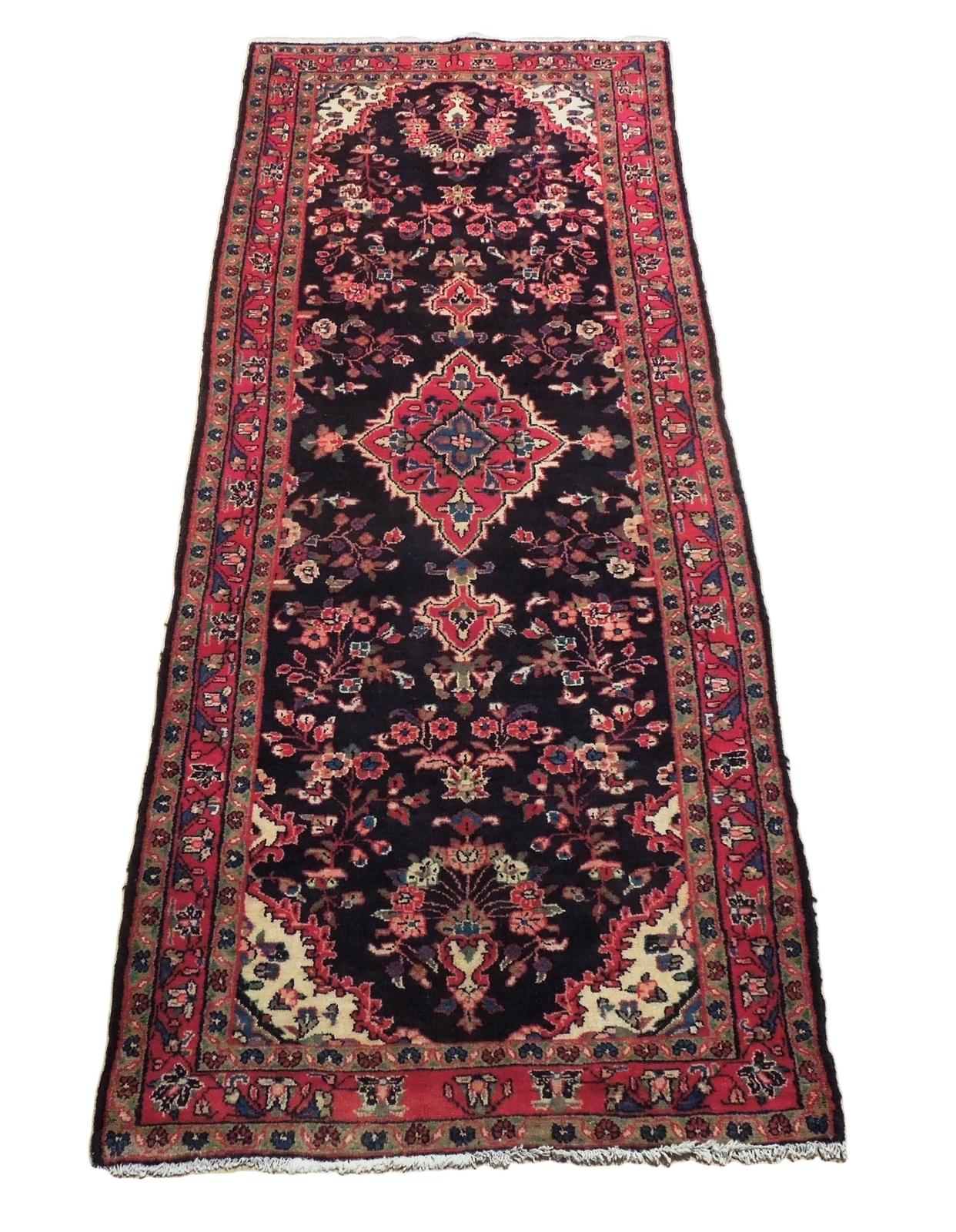 Tribal Wide Gallery Runner Persian Genuine Handmade 4x10 Black Sarouk Wool Rug