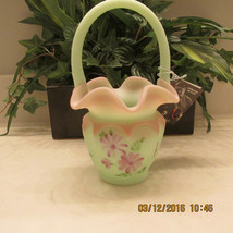 Fenton Art Glass Burmese Open Heart Arches Lotus Mist Basket - $99.00
