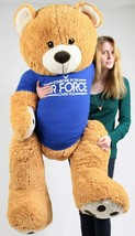 Air Force Giant 5 ft Teddy Bear Wears T-shirt SOMEONE IN THE AIR FORCE L... - $127.11