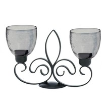 Candle Holder Stand Table, Fleur-de-lis Duo Metal Centerpiece Glass Cand... - £31.45 GBP