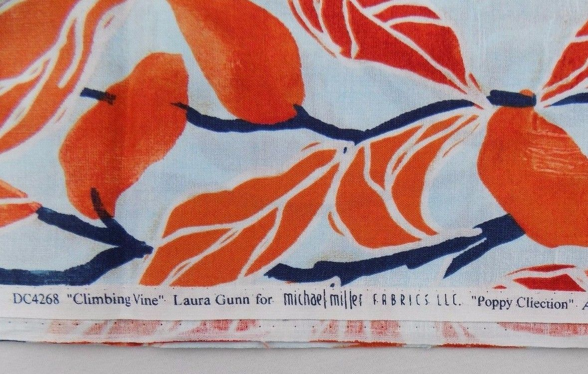Michael Miller Fabric Leaves Climbing Vine 1 Yd Red Blue Laura Gunn Quilting