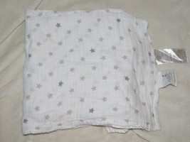 Aden + Anais Gray Star Baby Blanket Cotton Muslin Swaddle White Security... - $19.79