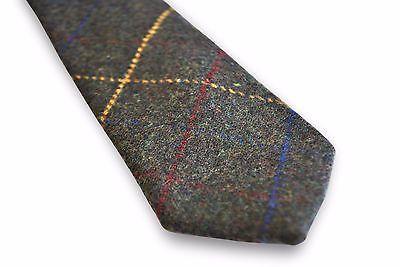 Frederick Thomas grau/grün mit rotem & gelb karriert Herren Wolle Tweed Tie