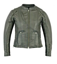 WOMEN'S STYLISH MOTORCYCLE JACKET WITH GROMMET AND LACING ACCENTS - SIZE... - $207.85
