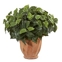 Nearly Natural Pothos Artificial Plant in Terracotta Planter Green - $40.36
