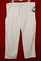 "Dickies Medical Scrub Uniform Drawstring Pants White Unisex L x 30"" 1072... - $19.80"