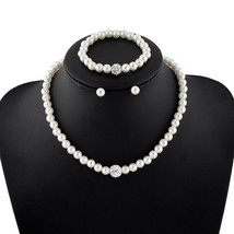 Jewelry Sets White Natural pearl Ball lace earrings Bracelet - $11.99