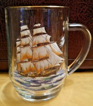 Glass Clipper Ship Mug / Stein - Gold Rim - Luminare - 1 4 lbs. - Nautical - $14.50