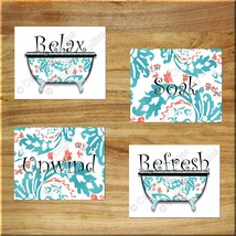 Coral Teal Floral Wall Art Print Picture Decor Bathroom Bathtub Relax Soak Quote - $13.99