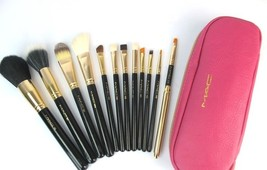 M.A.C. Limited Edition Makeup Brush Set Pink zipper Bag 12 Brushes Fast ... - $58.00