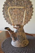 Studio Art Pottery Artisan Stoneware Handpainted Teapot w/bamboo handle - $24.98