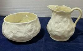 Belleek Creamer & Open Sugar Lotus Pattern BLPLOT - $19.80
