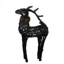 Northlight 3' Dark Brown and Black Wicker Standing Reindeer Christmas Fi... - $81.17