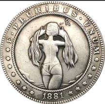 Hobo Nickel 1881 USA Morgan Dollar Kinky Girl Bikini Topless COIN Anime ... - $11.99