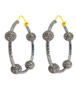 Antique Style 3.3Ct. Diamond Pave Sterling Silver Hoop Earrings 14k Gold... - $988.99