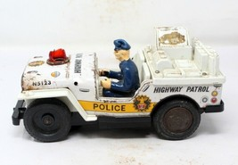 Vintage Wind Up Battery Operated Highway Patrol Police Jeep Tin Toy Made... - $187.11