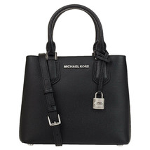 ❤️Michael kors Adele Medium Messenger Bag Tote Black/Silver Pebbled Leather - $111.30