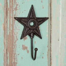 Country new rustic brown Architectural cast iron STAR wall hook / nice - $8.19