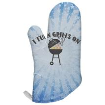 I Turn Grills On Blue All Over Oven Mitt - $16.95