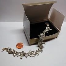 "2000 AVON Cherub Angel Silver Tone 8"" Length Rhinestone Slide Bracelet w... - $23.76"