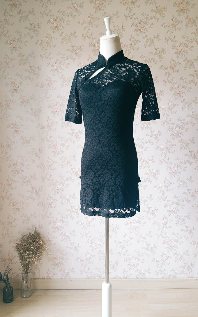 Women Chinese Style Short Sleeve Black Lace Dress Short Black Lace Party Dresses