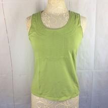 Liz Claiborne Womens Tank Top Blouse Medium Lime Green Stitching On Chest  - $12.20