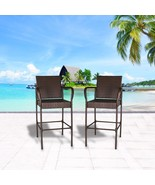 Set of 2 Outdoor Wicker Bar Stool Outdoor Patio Furniture Bar Chairs Brown - $114.99