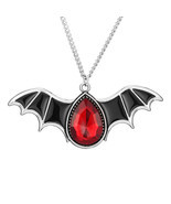 Gothic Halloween Antique Silver Color Necklace Red Crystal Black Wings B... - £6.53 GBP