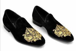 Handmade Men's Black Velvet Slip Ons Loafer Gold Embroidery Patches Shoes image 5