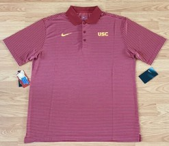 NEW USC Trojans Nike Dri-Fit Medium Striped Golf Polo Coaching Shirt FIG... - $44.54