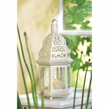 10 Moroccan Style Candle Lanterns Lacy White w/ Ivy Vine Design Etched G... - $118.75