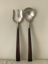 Sterling Silver Mexico Serving Spoon and Fork with Wood Handles - $54.45