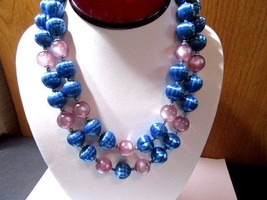 PRETTY MOONGLOW LAVENDER & TEXTURED METTALIC BLUE PLASTIC BEADED NECKLAC... - $32.00